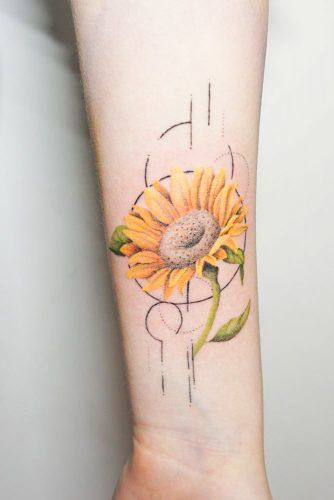 Geometric Sunflower Tattoo #geometrictattoo