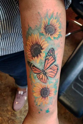 Watercolor Sunflowers With Butterfly #butterflytattoo