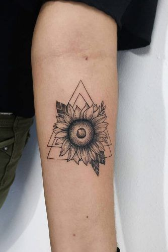 Geometric Black And White Sunflower Tattoo Design #geometrictattoo #forearmtattoo