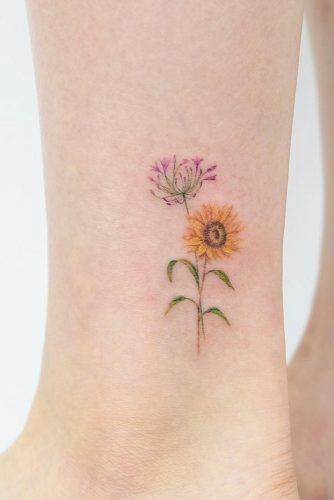 Small Simple Sunflower Tattoo For Leg #legtattoo #minimalisttattoo