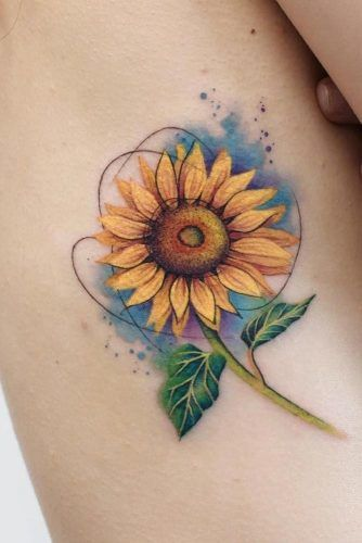 Different Interpretations of a Sunflower Tattoo #watercolortattoo