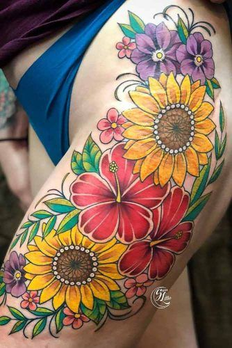 Sunflower Thigh Tattoo #thightattoo