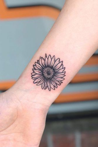 Simple Sunflower Tattoo #wristtattoo #simpletattoo