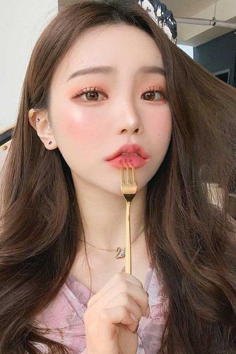Ulzzang Peach Makeup Idea #peachcolor #nudemakeup