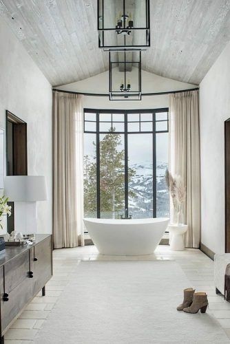 Bathroom With Vaulted Ceiling In Rustic Color #bathroomdecor