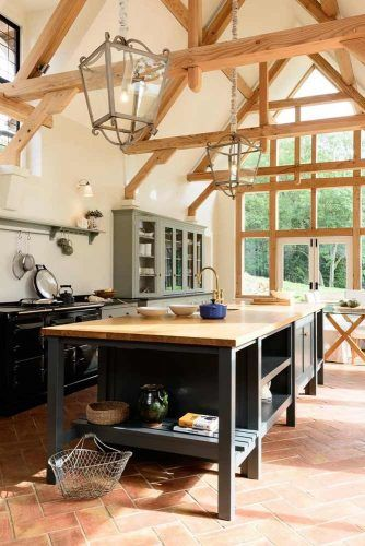 Kitchen Design Vaulted Ceiling With Wood Beams #kitchenarea #woodbeams