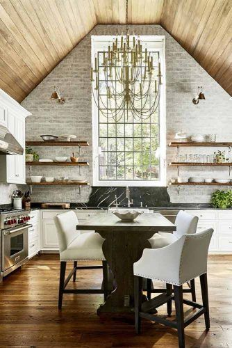 Modern Kitchen With Rustic Walls And Vaulted Ceiling #rusticstyle #kitchen