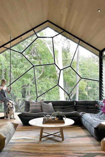 Modern Living Room With Wood Vaulted Ceilings #largewindows