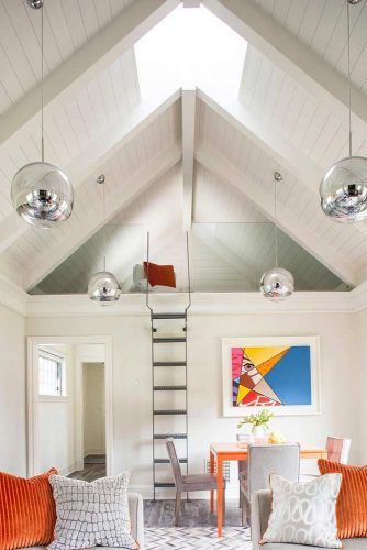 White Living Room With Loft And Vaulted Ceiling #livingspace #whitecolors