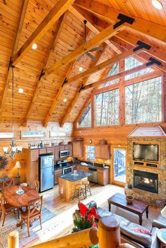 Rustic Vaulted Ceiling In The Kitchen And Living Space #kitchen #rusticstyle
