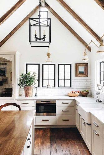Modern Kitchen Design With Vaulted Ceiling #whitekitchen