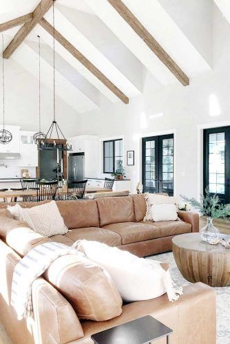 Living Room With White And Wood Beams #whitelivingroom #woodbeams