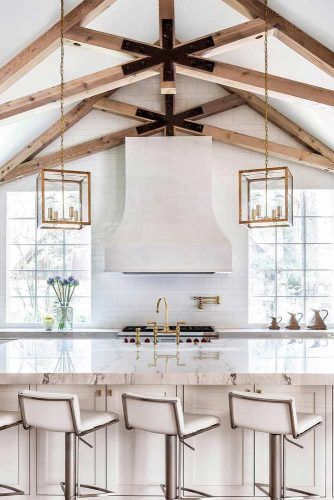 White Classic Kitchen Design With Vaulted Ceiling And Rustic Beams #whitekitchen