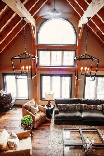 Living Space With Wood Vaulted Ceiling And Large Windows #restspace #rustic