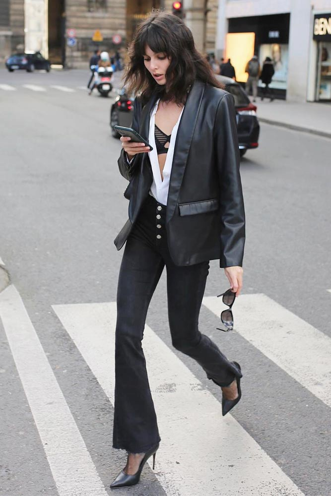 Leather Blazer Fashion Trend #blazer #blackjeans