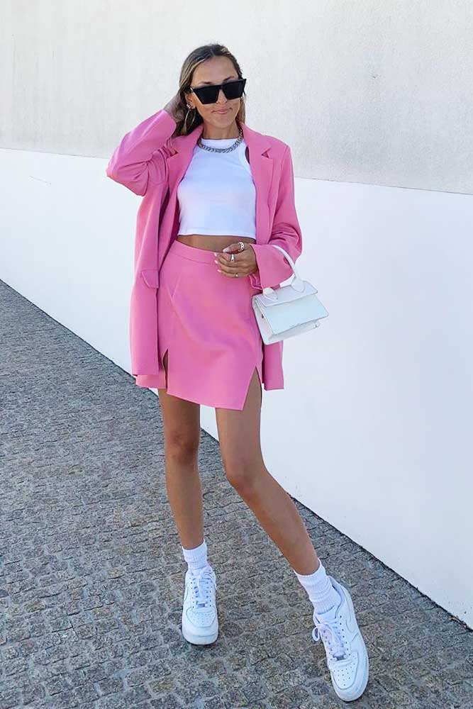Pink Skirt Suit Outfit Idea #skirtsuit #croptop