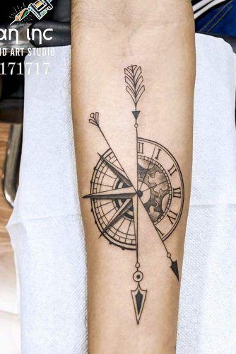 Half Clock Half Compass Tattoo Idea #compasstattoo #clocktattoo