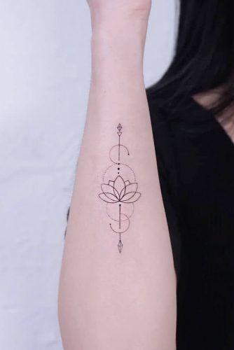 Outline Arrow Tattoo With Lotus Flower #lotusflowertattoo #lotustattoo