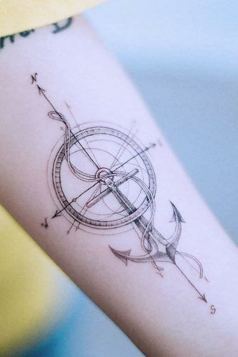 Compass Arrows Tattoo Design With Anchor #compasstattoo #anchortattoo