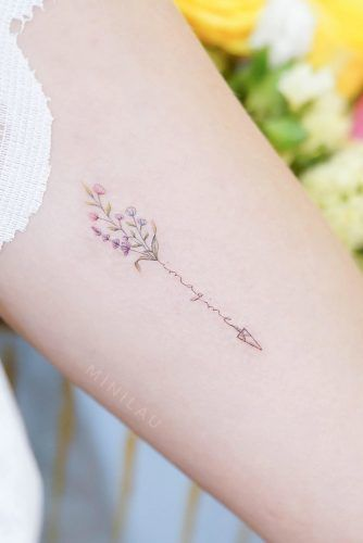 Small Watercolor Arrow Design With Lettering #letteringtattoo #flowertattoo