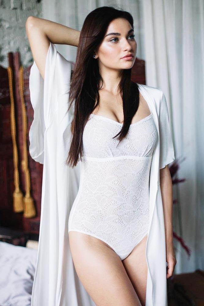 Classy White Lace Bodysuit With Robe Set #whitebodysuit