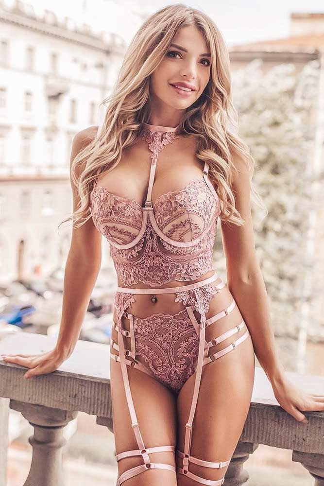 Pink Lace Lingerie Set With Striped Accent #top #highwaisted