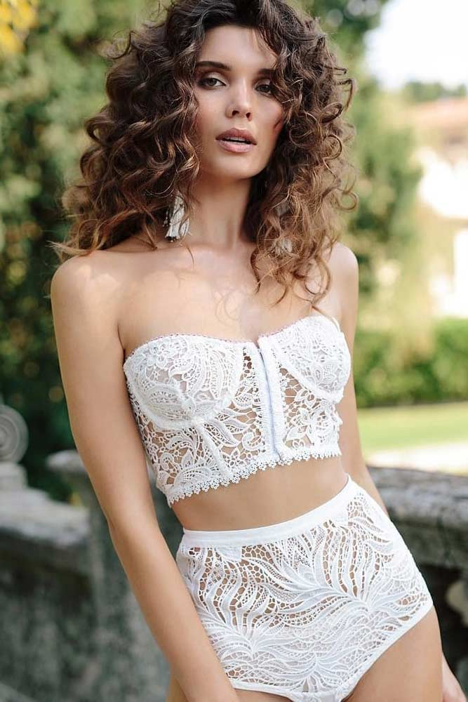 Lace White Lingerie Set With Strapless Top #lacetop