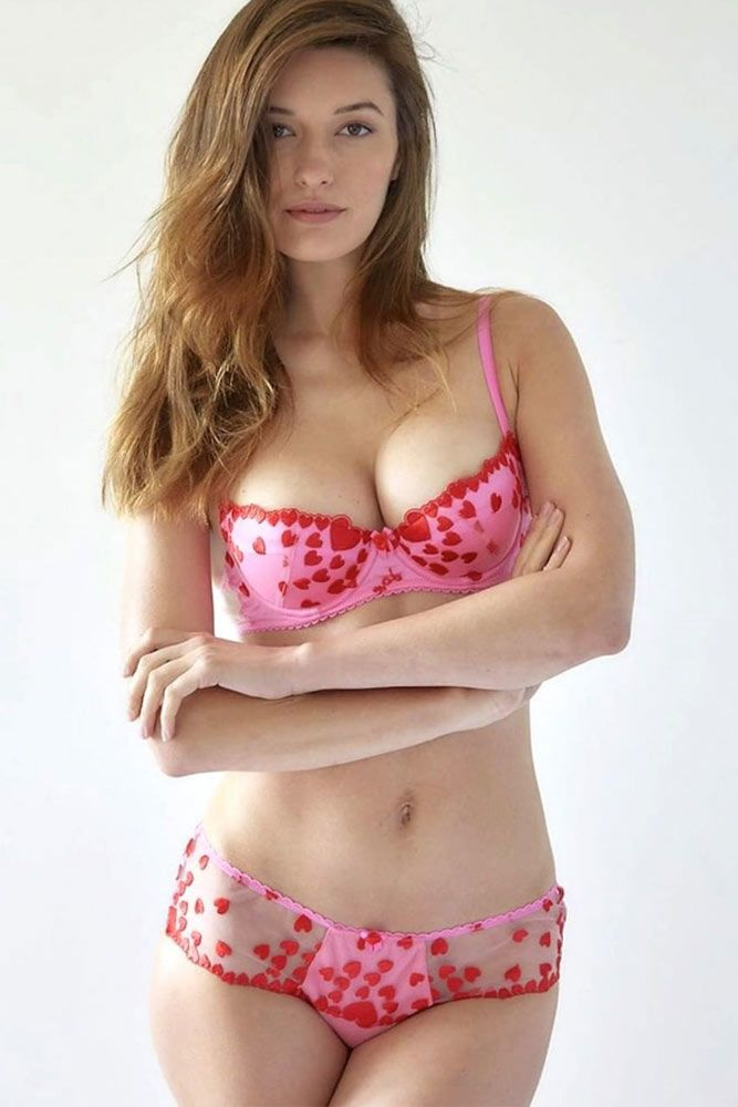 Pink Lingerie Set With Hearts #embroidary