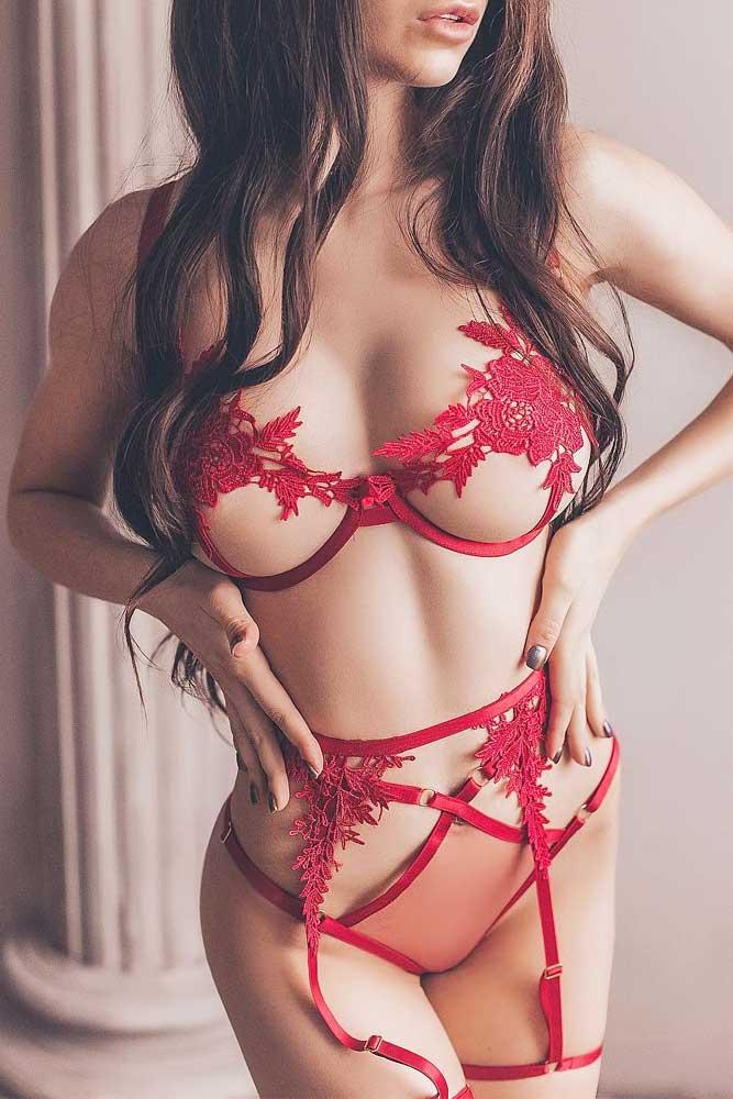 Red Lace And Stripes Lingerie #redlacelingerie
