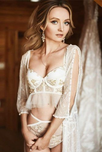 Lingerie Set With Embroidery Top #ruffles #floralembroidery