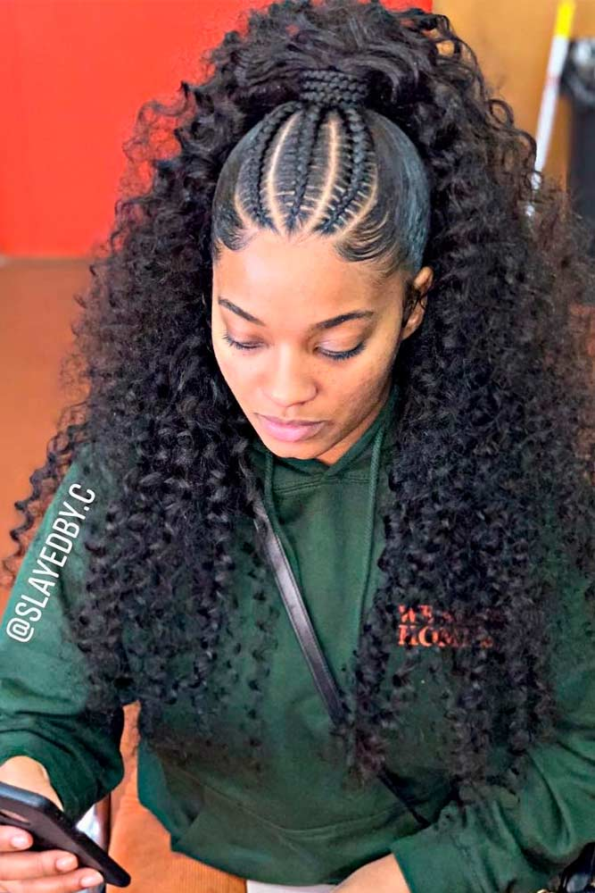 Cornrows Into Loose Ponytail #braidedhairstyles #ponytailhair