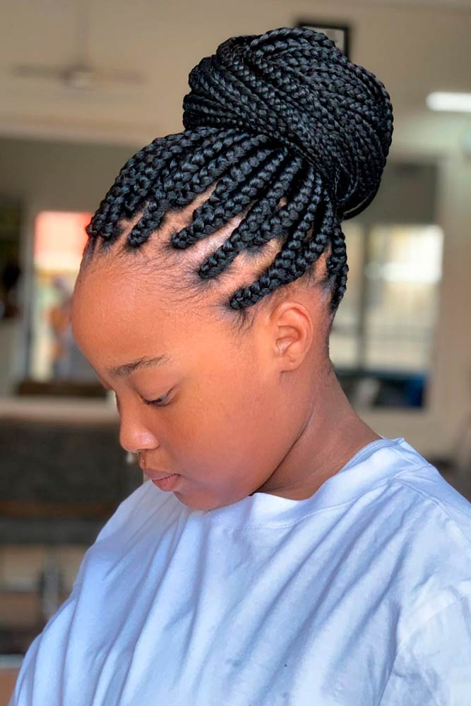Cornrows Into High Bun #braidedhairstyles #braids