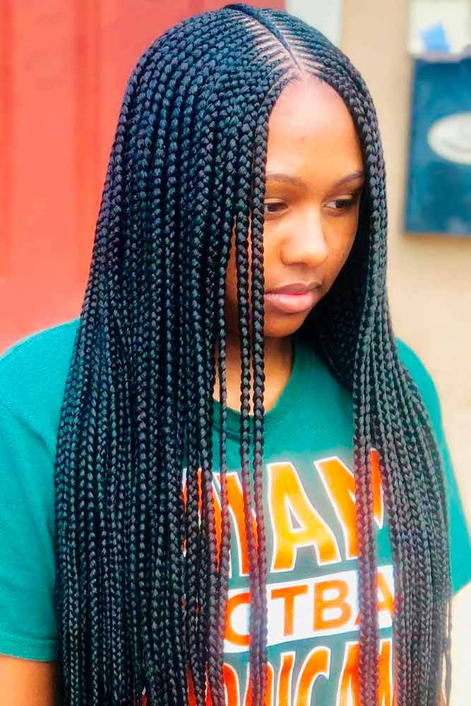 Traditional Small Cornrows #braids #longhair