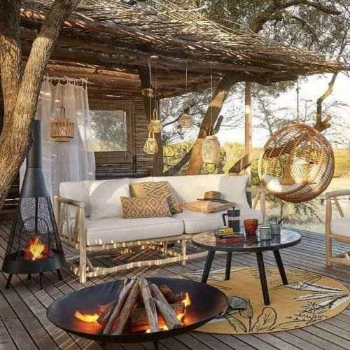 Boho Backyard Fire Pit Space #bohodecor