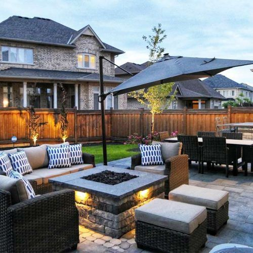Modern Backyard Space With Fire Pit Area #restspace #backyard