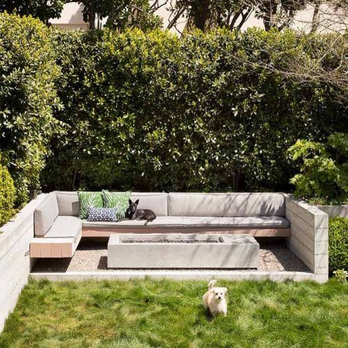 The Backyard Fire Pit With A Built-In L-shaped Sofa #lshapedsofa