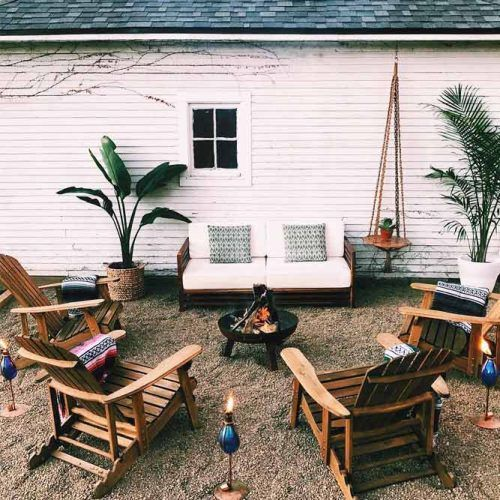 Simple Cozy Backyard Area #woodenchairs #metalfirepit