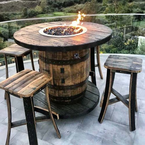 Rustic Wooden Fire Pit Area #woodenchairs