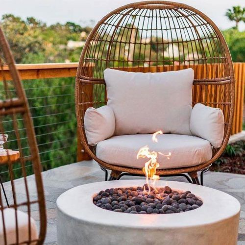 Fire Pit Area With Wicker Chairs #wickerchairs