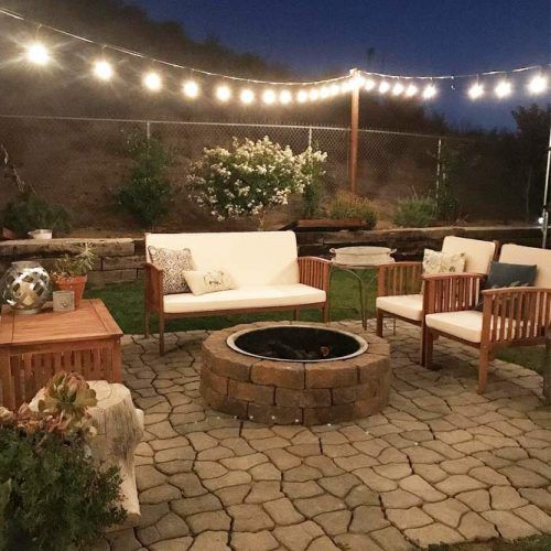 Fire Pit Area With String Lights #stringlights