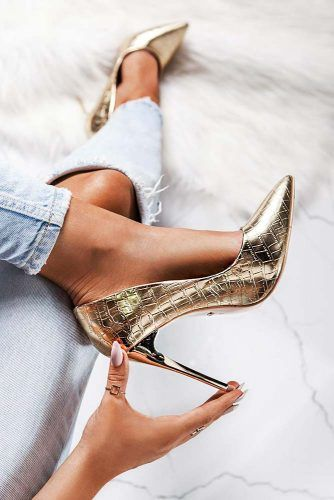 Closed Toe Gold Heel With Animal Print #animalprintedheels