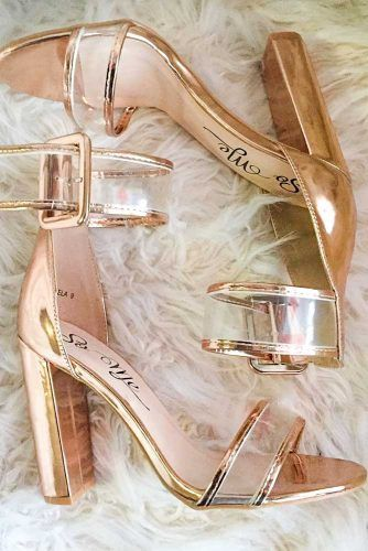 Chunky Gold Sandals With Transparent Straps #opentoeheels #sandals