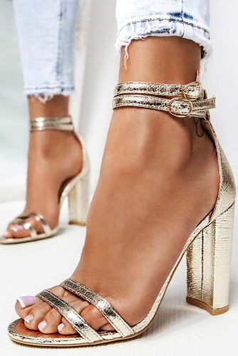 Blocked Gold Heels With Double Straps #opentoeheels