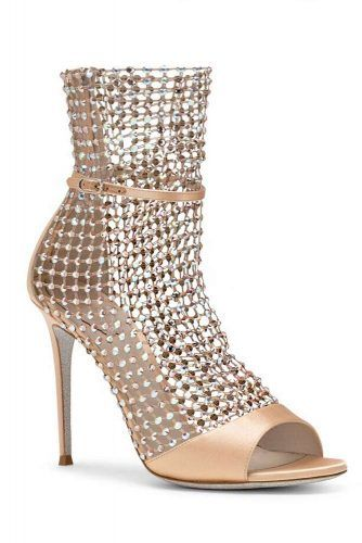 Gold Ankle Strap Sandals With Chain Mail Front #opentoeheels