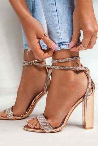 Gold Sandals With Sparkly Stones #opentoeheels #sandals