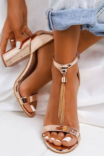 Blocked Gold Ankle Strap Heels With A Fringe #anklestrapheels #opentoeheels