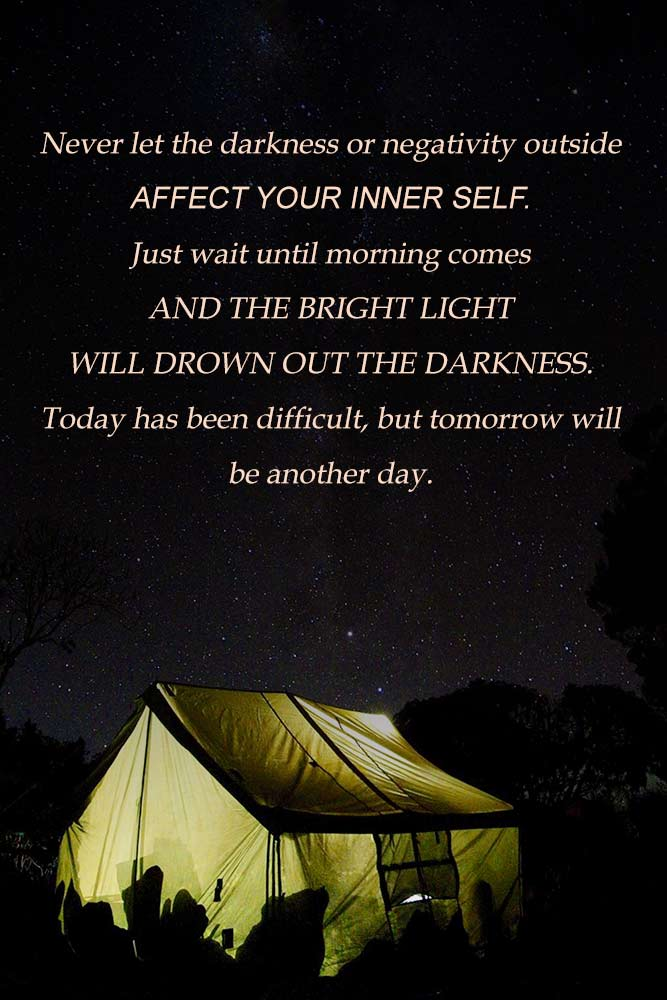 Never let the darkness or negativity outside affect your inner self. #quotes #inspirationalquotes