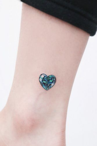Emerald Heart On Ankle #emeraldheart #tinytattoo
