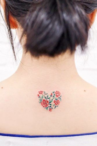 Floral Heart Tattoo Design For Back #floraltattoo #floralhearttattoo
