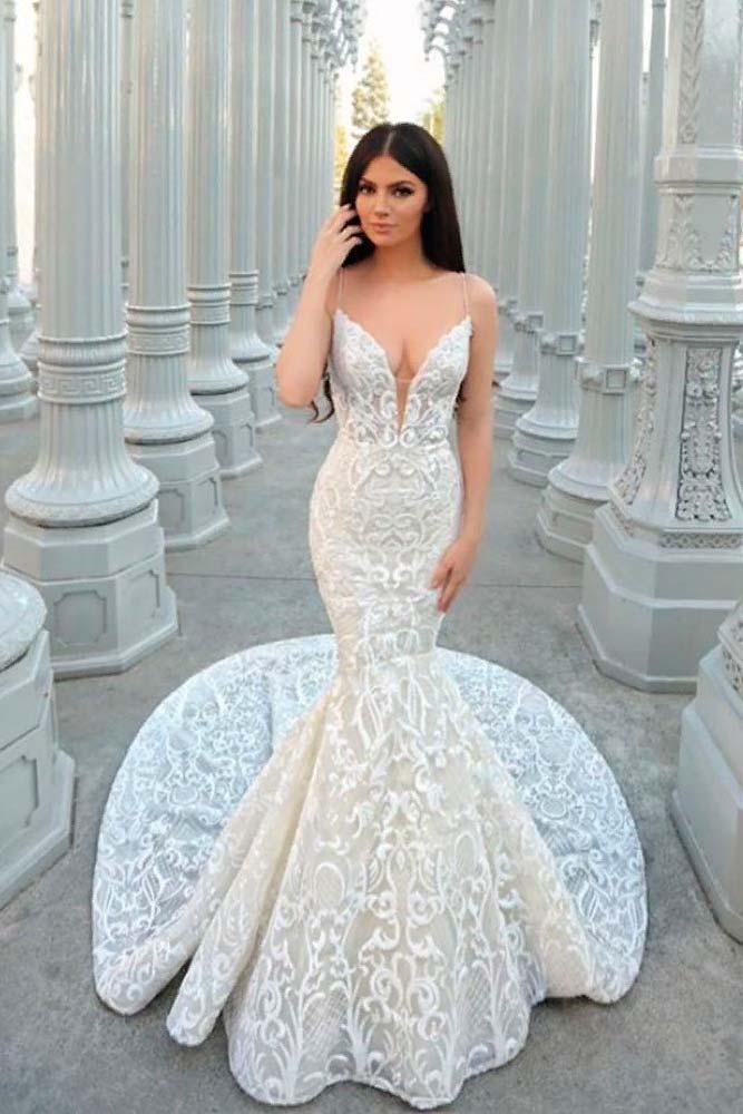 Deep Cleavage Wedding Dress #deepcleavage #weddingdress